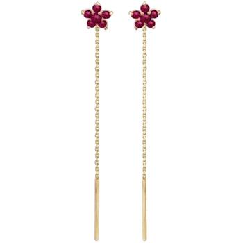 Серьги Цветы из красного золота с 12 шпинелями весом 0.48 карат