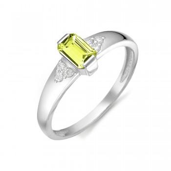 Женское кольцо из серебра с хризолитом