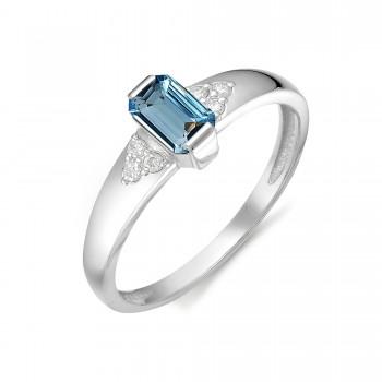 Женское кольцо из серебра с наноситалом топаз лондон
