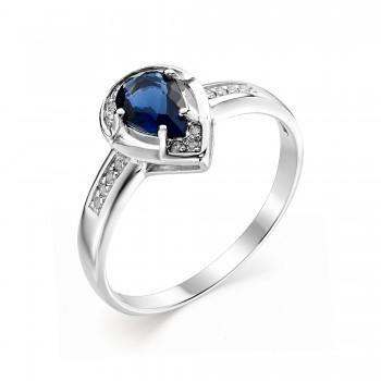 Женское кольцо из серебра с сапфировым кристаллом