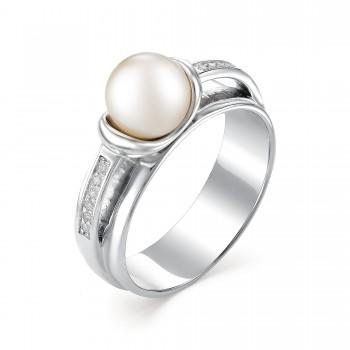 Женское кольцо из серебра с жемчугом