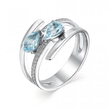 Женское кольцо из серебра с топазами sky blue