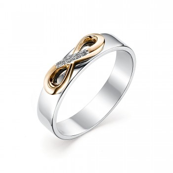 Женское кольцо из серебра с золотыми накладками, с бриллиантами