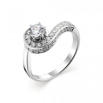Женское кольцо из серебра с кубическим цирконием
