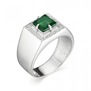 Женское кольцо из серебра с наноизумрудом