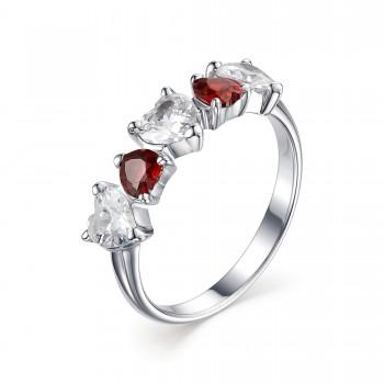 Женское кольцо из серебра с кубическими циркониями