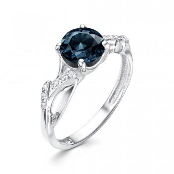 Женское кольцо из серебра с юв.стеклом топаз лондон