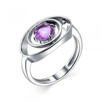 Женское кольцо из серебра с аметистом