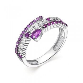 Женское кольцо из серебра с аметистом, с кубическим цирконием