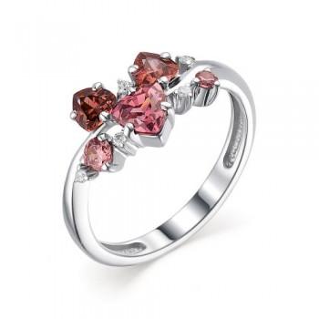 Женское кольцо из серебра с родолит кристаллом, с кубическим цирконием