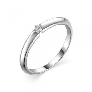 Женское кольцо помолвочное из серебра с бриллиантом