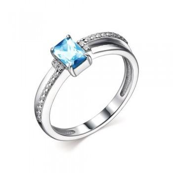 Женское кольцо из серебра с топазом sky blue