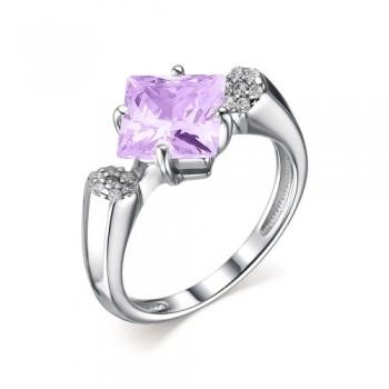 Женское кольцо из серебра с юв.стеклом аметист