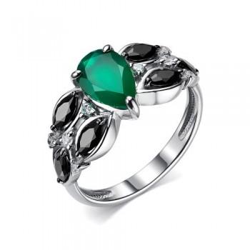 Женское кольцо из серебра с зеленым агатом, с кубическим цирконием