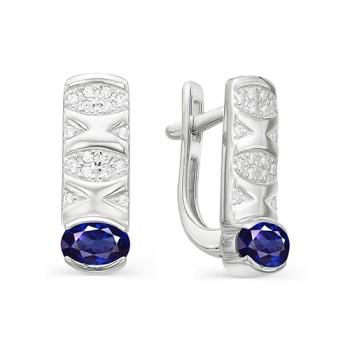 Женские серьги c английским замком из серебра с сапфировыми кристаллами