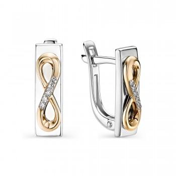 Женские серьги c английским замком из серебра с золотыми накладками, с бриллиантами