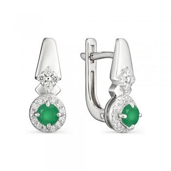 Женские серьги c английским замком из серебра с зелеными агатами