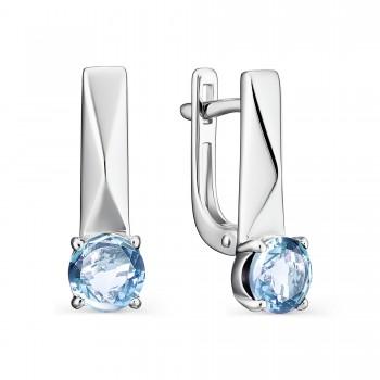 Женские серьги c английским замком из серебра с топазами sky blue