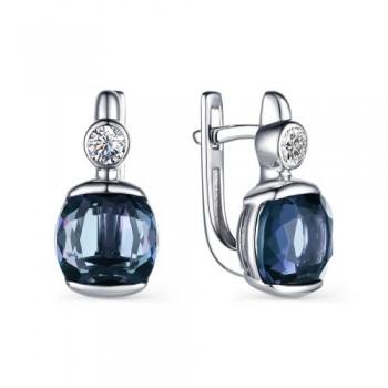 Женские серьги c английским замком из серебра с кристаллами топаз лондон, с кубическим цирконием