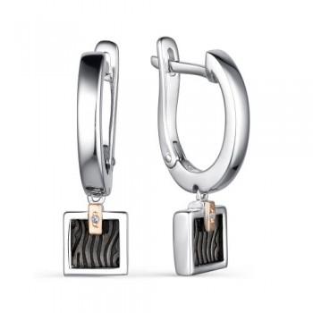 Женские серьги c английским замком из серебра с бриллиантами