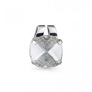 Женская подвеска из серебра с черным бриллиантом кристаллом