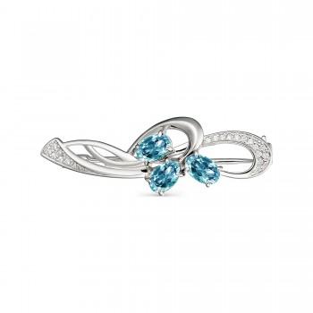 Женская брошь из серебра с топазами sky blue