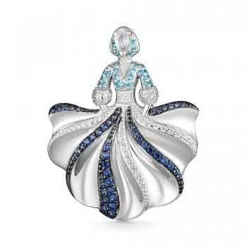 Женская брошь из серебра с горным хрусталем