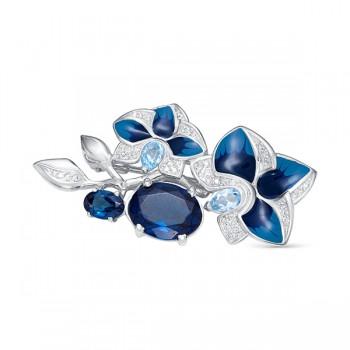 Женская брошь из серебра с наноситалом топаз лондон, топазами sky blue, эмалью