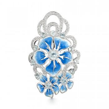 Женская брошь из серебра с топазом sky blue