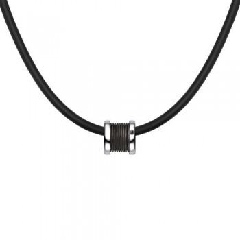 Мужское колье из серебра с черным бриллиантом