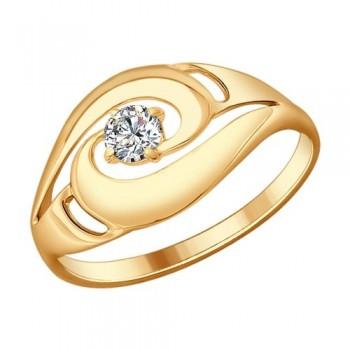 Кольцо из серебра с фианитом, артикул 93010598