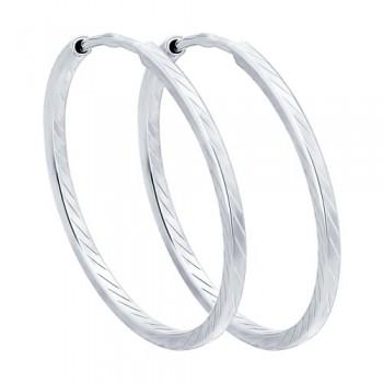 Серьги конго из серебра с алмазной гранью, артикул 94140026