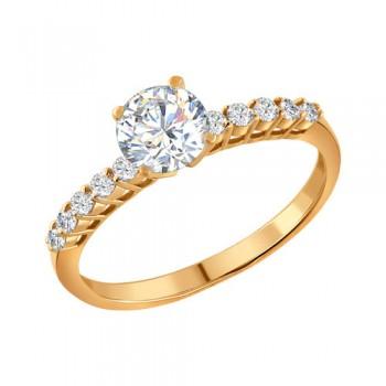 Помолвочное кольцо из золочёного серебра с фианитами, артикул 93010036