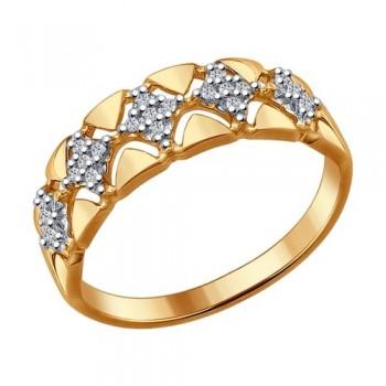 Кольцо из золочёного серебра с фианитами, артикул 93010647