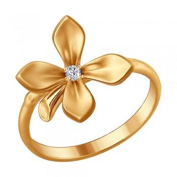Кольцо из золочёного серебра с фианитом, артикул 93010658