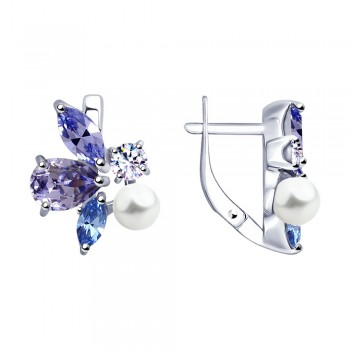 Серьги из серебра с жемчугом Swarovski и кристаллами Swarovski, артикул 94023050