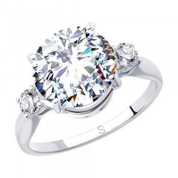 Кольцо из серебра с фианитами, артикул 94012849