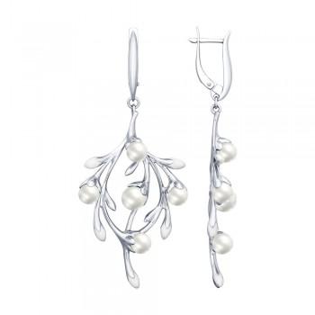 Серьги из серебра с эмалью и жемчугом, артикул 94022700