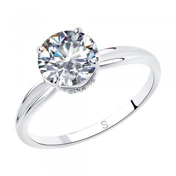 Кольцо из серебра с фианитами, артикул 94012940