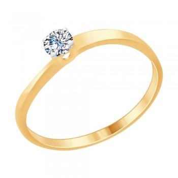 Кольцо из золочёного серебра со Swarovski Zirconia, артикул 89010092