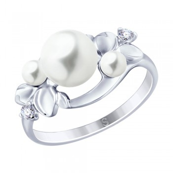 Кольцо из серебра с жемчугом и фианитами, артикул 94012795