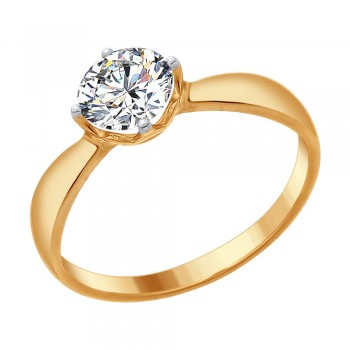 Кольцо из золочёного серебра со Swarovski Zirconia, артикул 89010096