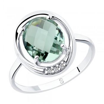 Кольцо из серебра с кварцем и фианитами, артикул 92011799