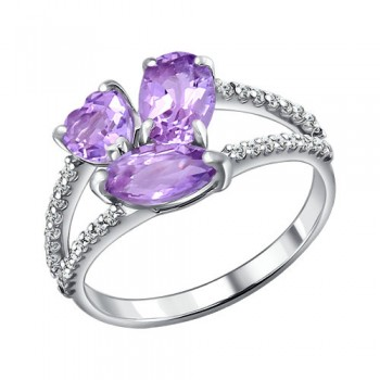Кольцо из серебра с аметистами и фианитами, артикул 92010925
