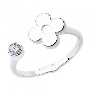 Кольцо из серебра с фианитом, артикул 94012943
