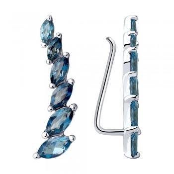 Серьги из серебра с синими топазами, артикул 92022197