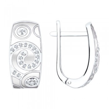 Серьги из серебра с эмалью с фианитами, артикул 94020482