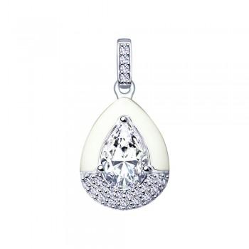 Подвеска из серебра с эмалью и фианитами, артикул 94032174