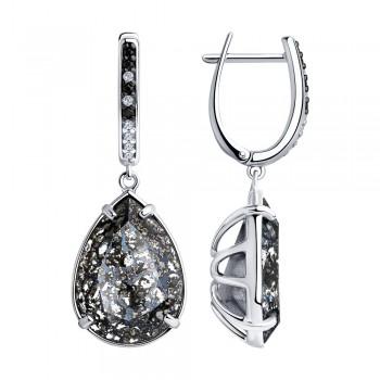 Серьги из серебра с чёрными кристаллами Swarovski и фианитами, артикул 94023613