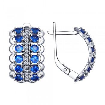 Серьги из серебра с бесцветными и синими фианитами, артикул 94022475